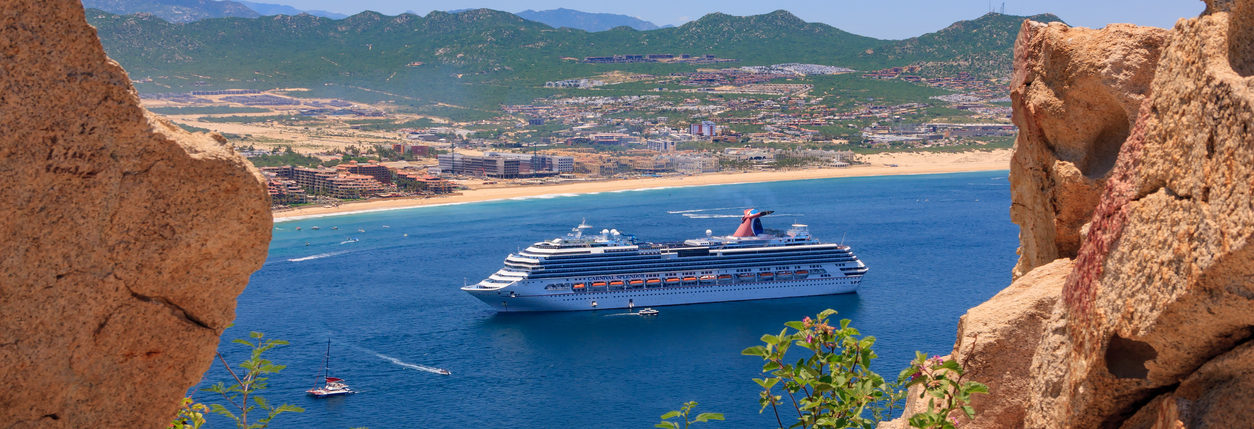 Cabo San Lucas, Mexico - July 2, 2018: Carnival Splendor cruise ship was at anchor in Cabo San Lucas, tendering it's passengers to the island