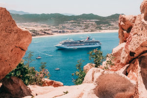 Carnival Splendor cruise ship was at anchor in Cabo San Lucas, tendering it's passengers to the island
