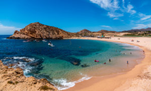 Beautiful Santa Maria beach by Cabo San Lucus has full life guarding and bathroom facilities. It is a sheltered beach that provides safe swimming and snorkeling areas.